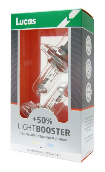 Lucas H4 12V 60/55W +50% Light Booster Box