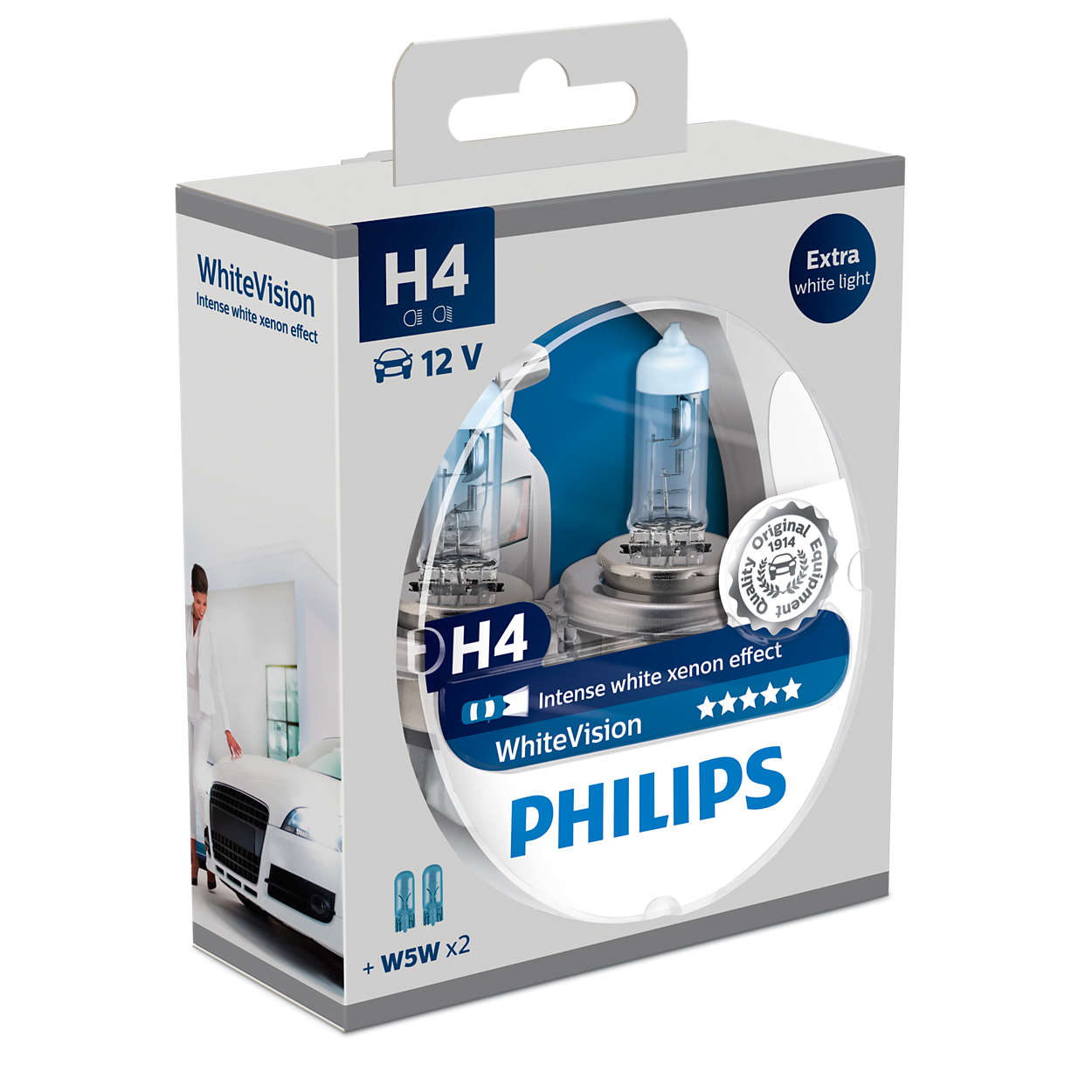 Philips 12V H4 60/55W White Vision ultra Box 2ks + W5W